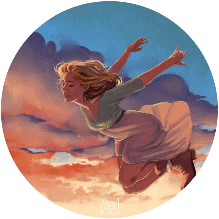 A girl flying through a sunset sky