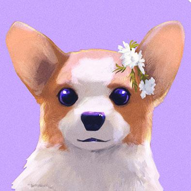 Sample Illustration of a cute welsh corgi dog made for my Etsy shop Listing