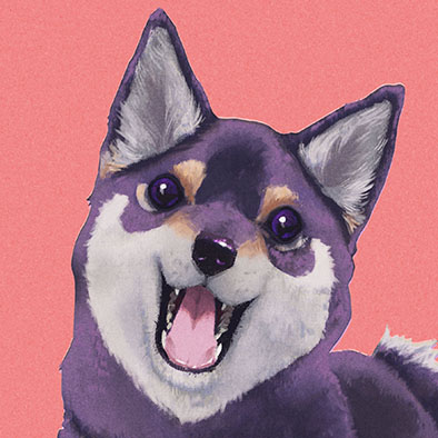 Sample Illustration of a cute shiba inu dog made for my Etsy shop Listing