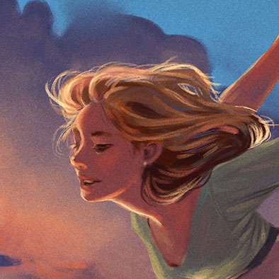 Illustration of a flying girl on a sunset