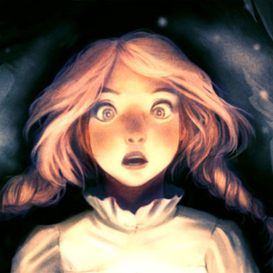 Illustration of a frightened girl in a scary forest