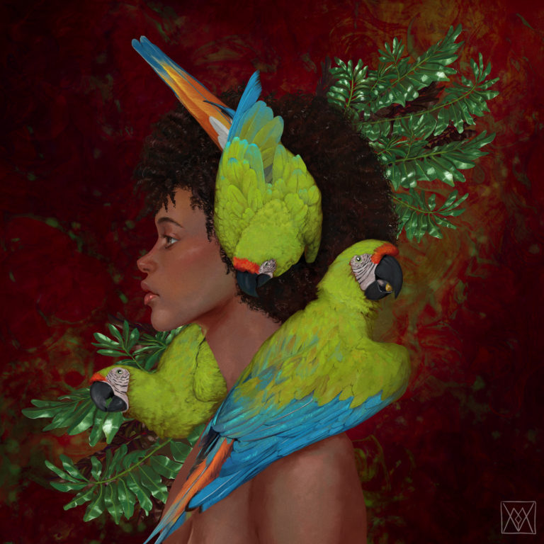 Afro girl with three macaws