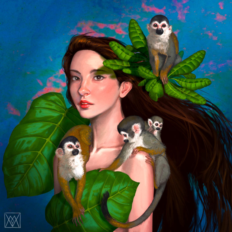 Squirrel monkeys with asian girl