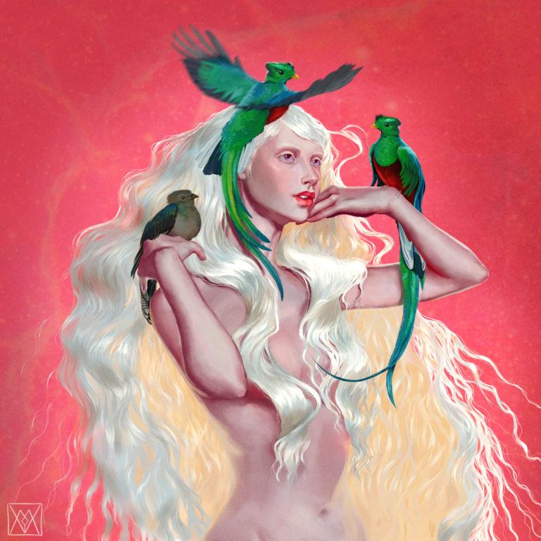 Quetzals with albino girl